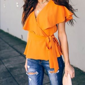 Do + Be Collection Ruffle Wrap Top